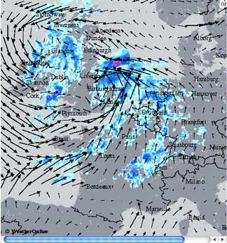 Europe radar images with wind direction / speed overlay option, flash loop and many more...